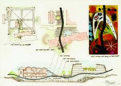 """LUCIO PASSARELLI, """"Disegno per il concorso per il Museo del Prado, Madrid"""" 1966, penna e colore su carta, con inserimento risporduzione da quadro di Joan Mirò,  cm 30x40"""