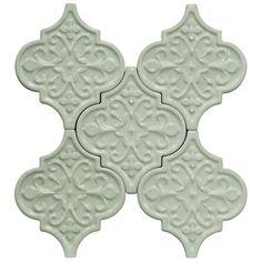 Byzantine Florid Arabesque Alice Blue Ceramic Tile