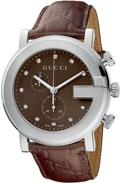 gucci watches for men | Gucci YA101344 Men 101 G-Round Chronograph Brown Dial Diamonds ...