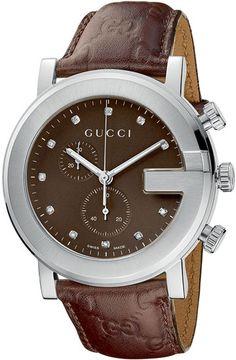 gucci watches for men | Gucci YA101344 Men 101 G-Round Chronograph Brown Dial Diamonds ...