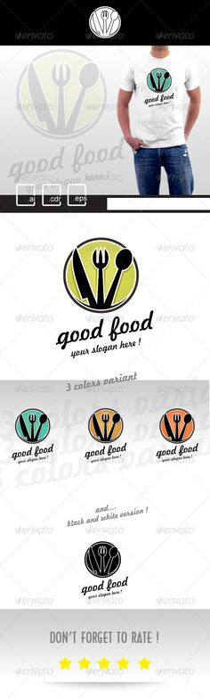 Good Food Restaurant Logo by pixelariskie Awesome Food Logo! for your company ! you can use this logo easily. professional design with color variant. Lets Buy and Logo Restaurant, Fashion Typography, Fashion Logo Design, Branding, Logo Food, Logo Design Inspiration, Logo Templates, Ideas, Awesome Food