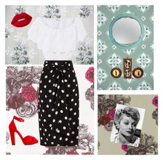 """""""1940's style"""" by rhirhiday ❤ liked on Polyvore featuring Fornasetti, Andrea Marques, Miguelina, Alexander McQueen, Lime Crime and FontanaArte"""