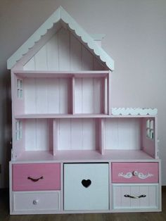 Doll House with Storage Bins Barbie Furniture, Dollhouse Furniture, Kids Furniture, Doll House Plans, Barbie Doll House, Diy Dollhouse, Dollhouse Miniatures, Little Girl Rooms, Kids Decor