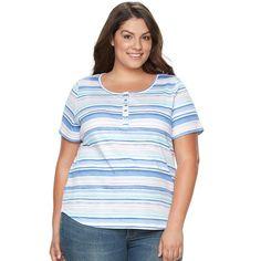 Plus Size Croft & Barrow® Henley Tee, Women's, Size: 2XL, Dark Blue