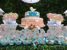 festa passarinho rosa e azul - Pesquisa Google