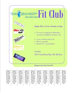 FREE Fit Club in Elk River, MN begins May 1 @ 7 PM. See you there!