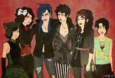 Humanstuck female trolls: Nepeta, Aradia, Vriska, Kanaya, Feferi, and Terezi