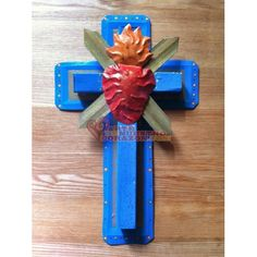 Tin Sacred Heart Cross by Susie Carranza. Available at www.ArtedeNuestroCorazon.com
