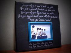 Custom Coach Picture Frame Gift, Sisters, Sports, Dance Team, Gymnastics, Team Coach, Cheer-leading