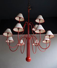 The playful designs of the brilliant Jean Royère always remind me of the films of Jacques Tati (see 'Mon Oncle' with Monsieur Hulot). Original tubular steel chandelier (or 'lustre bouquet') attributed to Jean Royère French c.1930.   #foundbyhowe