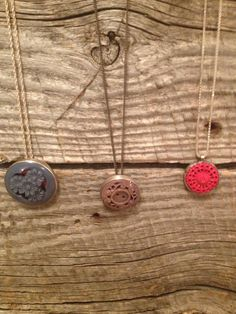 #vintage #button #reversible #necklaces set in #sterling silver   #jenneajewelry