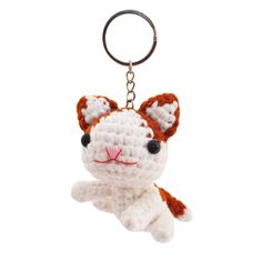 Cat Toy Handmade Crochet Stuffed Keychains Keyrings VKC