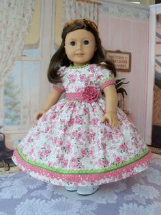 American Girl Mid 1800s Birthday Gown  / Clothes for Marie Grace, Cecile or Caroline. $68.00, via Etsy.