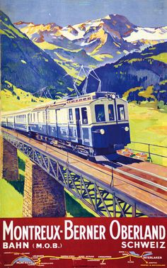 Vintage Train Travel Poster - The Golden Pass Route, Switzerland Train Posters, Railway Posters, Travel Ads, Train Travel, Evian Les Bains, Trains, Swiss Travel, British Travel, Tourism Poster
