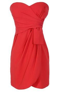 Annabelle Strapless Chiffon Designer Dress in Red