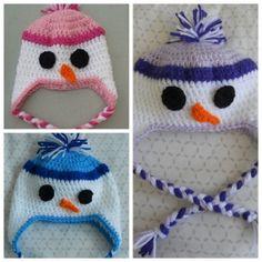 Crochet Childrens Snowman Earflap Hat  ANY size by MyWindowSIL