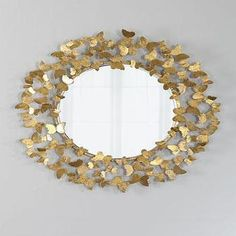 Gold Butterfly Round Beveled Mirror