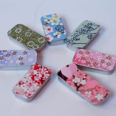SLIDE TOP TINS 5 Hand Decorated Slide top tins- Custom Wedding Favor Candy Box Bead findings storage lip balm Tiny Japanese Papers. $ 8.95, via Etsy.