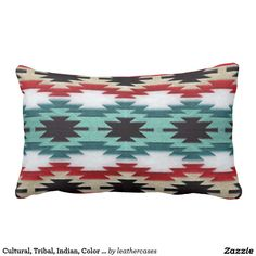 Cultural, Tribal, Indian, Color Turquoise Print Throw Pillow