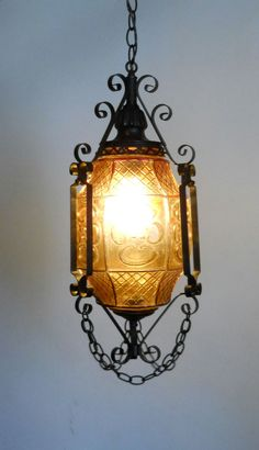 Gothic Lantern. Amber Art Glass and Wrought Iron Swag Hanging Lamp, Ceiling Pendant Light Fixture, Spanish Chandelier.