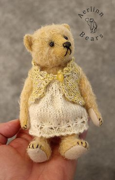"Little Bun, Miniature 5 1/2"" Mohair Artist Teddy Bear from Aerlinn Bears"