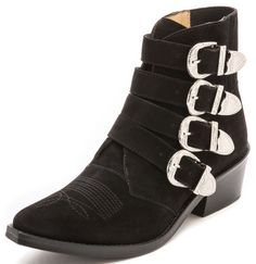 toga buckled suede boots