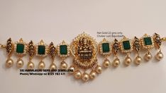 Presenting Choker cum Bajunbandh in 22 gm Net Gold wt. Choker with Lakshmi Devi motif. Choker with south sea pearl hangings. Choker  studded with diamonds and emeralds. Sri Mahalaxmi Gems and Jewellers  can get the best finish in minimum possible wt.  REady selection or express delivery on made to order. Contact no 8125 782 411 . Gold Jewellery Design, Gold Jewelry, Handmade Jewellery, Earrings Handmade, Gold Necklace, Jewellery Box, Antique Jewelry, Swarovski Crystal Earrings, Necklace Designs