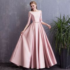 2019 Jul 19 - Chic / Beautiful Candy Pink Evening Dresses 2018 A-Line / Princess Bow Pearl Scoop Neck Backless Sleeve Floor-Length / Long Formal Dresses Hijab Evening Dress, Hijab Dress Party, Pink Evening Dress, Long Gown Dress, Party Gowns, Evening Dresses, Long Dress Design, Stylish Dress Designs, Stylish Dresses