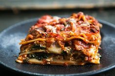 Vegetarian Spinach and Mushroom Lasagna ~ Vegetarian lasagna with spinach, shiitake and cremini mushrooms, ricotta, Mozzarella, and pecorino cheeses. ~ SimplyRecipes.com