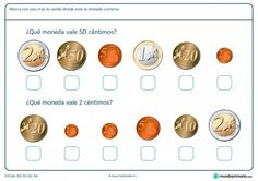 Ficha de monedas de céntimos Math Worksheets, Learning Spanish, Life Skills, Kids Playing, Coins, Personalized Items, Mathematics, Internet, Special Education
