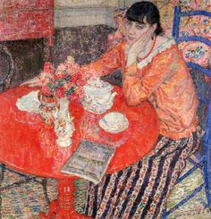 ✉ Biblio Beauties ✉ paintings of women reading letters & books - Leon De Smet | The Red Table