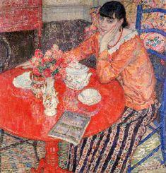 """peinture belge : Léon De Smet, """"la table rouge"""", 1916, intérieur"""