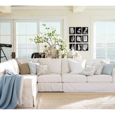 Pottery Barn PB Comfort Slipcovered 3-Piece L-Shaped Sectional ($2,969) ❤ liked on Polyvore