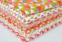 Lot+de+6+coupons+tissu+50+X+50cm+Rose+/+orange+de+La+Mercerie+de+Clémentine+sur+DaWanda.com