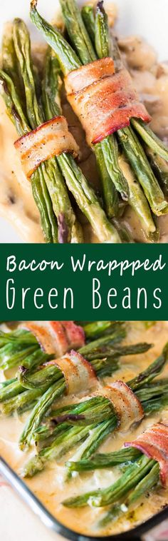 Bacon Wrapped Green Bean Bundles with Mushroon Gravy