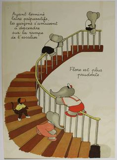 Babar.  If you ever slid down a banister rail this will bring it to top of mind. Enjoy the ride again!