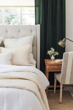 5 Perfect Clever Ideas: How To Colorful Curtains curtains living room rustic.How To Hang Farmhouse Curtains living room curtains pottery barn. Summer Bedroom, Bedroom Green, Bedroom Decor, Bedroom Designs, Velvet Curtains Bedroom, Green Curtains, Striped Curtains, Bathroom Curtains, White Velvet Curtains