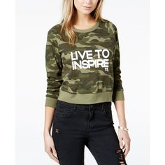 Boy Meets Girl. Cotton Live To Inspire Cropped Sweatshirt (£44) ❤ liked on Polyvore featuring tops, hoodies, sweatshirts, graphic tops, graphic design sweatshirts, graphic sweatshirt, cut-out crop tops and graphic print sweatshirts