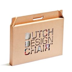 The Dutch Design Chair is made from high-quality, FSC-Certified corrugated cardboard and is entirely produced in the Netherlands.     It can support up to 200 kilos of weight.    Dimensions: 30cm W x 34cm H x 30 cm D