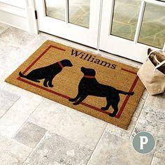 Personalized Black Dog Coir Mat
