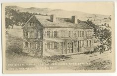 Postcard: The Queens House, Largest Log House Ever Erected; in French Azilum/Asylum, Bradford Co, PA