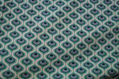 Stenzo15 7010-15 Cotton poplin retro motief wit/aqua/groen