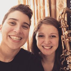 #roomies  [selfie of @reneeyoxon and @clairedvl smiling with a saxophone]