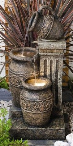 An outdoor water fountain is a great complement to your garden or other outdoor space. Not only are water fountains […] Water Fountain Design, Garden Water Fountains, Diy Fountain, Small Fountains, Tabletop Fountain, Indoor Fountain, Water Garden, Greek Garden, Outdoor Fountains