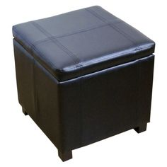Single Storage Ottoman Stool with Hinge Top - Black