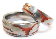 texas long horns wedding rings
