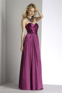 Magenta Charmeuse Bridesmaid Dress