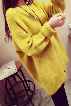 Fashion Women Loose Autumn Korean Crew Neck Bat Sleeve Hoodie Knit Sweater Tops…