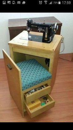 Máquina de coser con asiento integrado