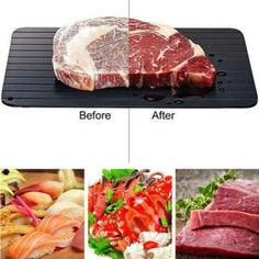 via Meijuner Fast Defrosting Tray Thaw Frozen Food Meat Fruit Quick Defrosting Plate Board Defrost Kitchen Gadget Tool (Discount 48 % ) Lamb Chops, Pork Chops, Carne, Meat Fruit, Frozen, Nutrition, Food Out, Small Meals, T Bone Steak